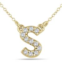 1/10 Carat TW S Initial Diamond Pendant in 10K Yellow Gold