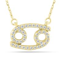 1/3 Carat TW Diamond Cancer Zodiac Pendant 10K Yellow Gold