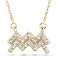1/5 Carat TW Diamond Aquarius Zodiac Pendant 10K Yellow Gold
