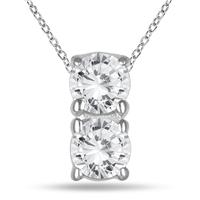 1/2 Carat TW Two Stone Diamond Pendant in 14K White Gold
