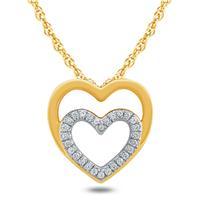 1/8 Carat TW Diamond Double Heart Pendant in 10K Yellow Gold
