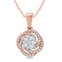 1/3 Carat TW Diamond Pendant in 10K Rose Gold
