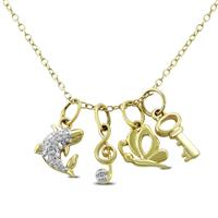 Diamond Charm Necklace in .925 Sterling Silver (Key, Dolphin, Music Note, Butterfly)