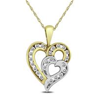 1/2 Carat TW Diamond Double Heart Pendant in 10K Two Tone Gold