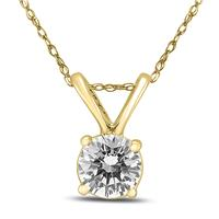 1/2 Carat Round Diamond Solitaire Pendant in 14K Yellow Gold