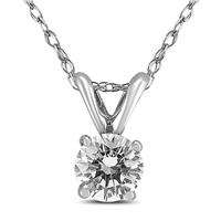 PREMIUM QUALITY - 3/4 Carat Diamond Solitaire Pendant in 14K White Gold (G-H Color, SI1-SI2 Clarity)