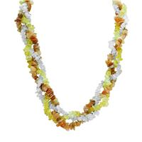 150 Carat TW Citrine Blue Topaz and Moonstone Gemstone Triple Strand Necklace