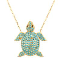 Created Turquoise Turtle Pendant in Yellow Plated .925 Sterling Silver