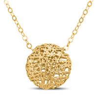 14K Yellow Gold Puff Circle Necklace