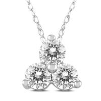1/2 Carat TW Diamond Three Stone Pendant in 14K White Gold