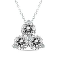 1 Carat TW Diamond Three Stone Pendant in 14K White Gold