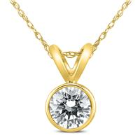1/2 Carat Solitaire Diamond Bezel Pendant in 14K Yellow Gold