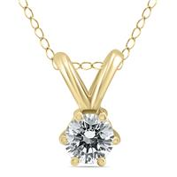 1/4 Carat 6 Prong Diamond Solitaire Pendant in 14K Yellow Gold