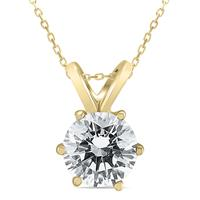 AGS Certified 1 Carat 6 Prong Diamond Solitaire Pendant in 14K Yellow Gold