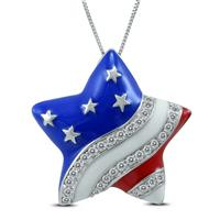 Red White and Blue Star Spangle Created White Sapphire Pendant in .925 Sterling Silver