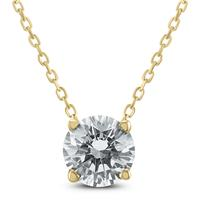 AGS Certified 3/4 Carat Floating Round Diamond Solitaire Necklace in 14K Yellow Gold