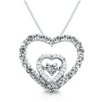 Szul Diamond Heart Necklace Pendant in .925 Sterling Silver