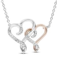 Double Heart Diamond Necklace in Rhodium Plated Brass