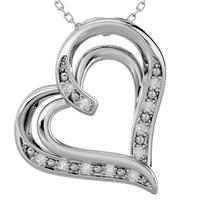 Diamond Heart Pendant in Rhodium Plated Brass