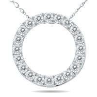 1/4 Carat TW Diamond Circle Pendant in 10K White Gold