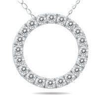 1/2 Carat TW Diamond Circle Pendant in 10K White Gold