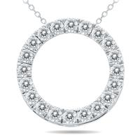 3/4 Carat TW Diamond Circle Pendant in 10K White Gold