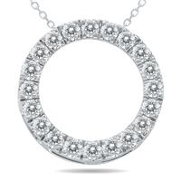 1 Carat TW Diamond Circle Pendant in 10K White Gold