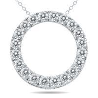 1 1/2 Carat TW Diamond Circle Pendant in 10K White Gold