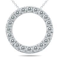 2 Carat TW Diamond Circle Pendant in 10K White Gold