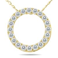 1/4 Carat TW Diamond Circle Pendant in 10K Yellow Gold