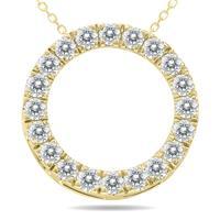 1 Carat TW Diamond Circle Pendant in 10K Yellow Gold