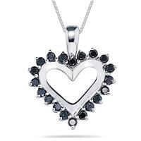 Black Diamond Heart Pendant in 14K White Gold