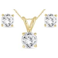 14K Yellow Gold 1 Carat Diamond Pendant and Earring Matching Set