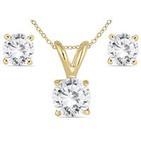 5/8 Carat TW Diamond Pendant and Earring Set in 14K Yellow Gold