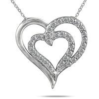 1/4 Carat TW Diamond Heart Pendant in 10K White Gold