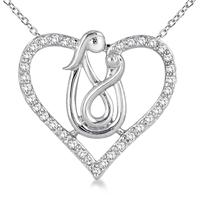 1/4 Carat TW Mother and Baby Diamond Heart Pendant 10K White Gold
