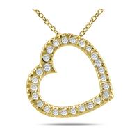 1/4 Carat TW Diamond Slide Heart Pendant in 14K Yellow Gold