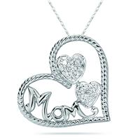 Diamond Heart MOM Pendant in 14K White Gold