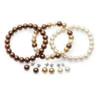 White and Brown Freshwater Cultured Pearl Bracelet and Matching Earring Ensemble in .925 Sterling Silver