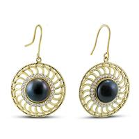 15MM Black Cultured Pearl Chloe Earrings in Gold Plated Brass