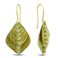 Cultured Pearl Leaf Earrings in Gold Plated Sterling Silver