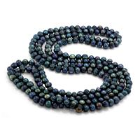 60 Inch Freshwater Cultured Black Pearl Necklace