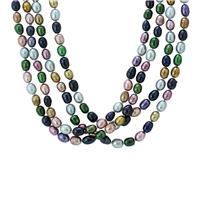 60 Inch Multi Colored Freshwater Cultured Pearl Necklace Strand