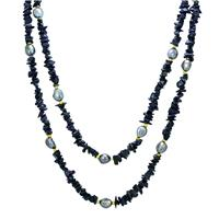 60 Inch Black Quartz and Black Cultured Pearl Necklace