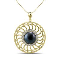 15MM Black Cultured Pearl Chloe Pendant in Gold Plated Brass