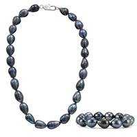 11-11.5MM Black Freshwater Cultured Pearl Tear Drop Necklace and Matching Bracelet Set