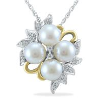 Freshwater Cultured White Pearl and Diamond Pendant in .925 Sterling Silver