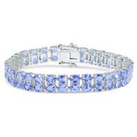 10 Carat Double Row Genuine Tanzanite Bracelet  in .925 Sterling Silver