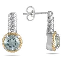 1.55CT Green Amethyst Earrings in 22K Gold Plated Sterling Silver