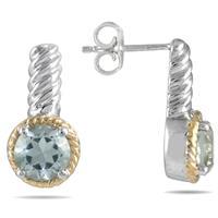 1.55CT Green Amethyst Earrings in 22K Gold Plated Sterling Silver